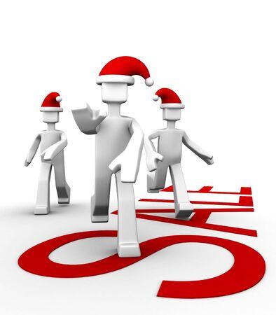 santa clause hat: Consumer wearing santa clause hat run for seasonal sale shopping 3d illustration Stock Photo