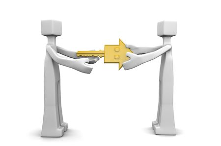 ownership: Man handover a gold house key to owner 3d illustration Stock Photo