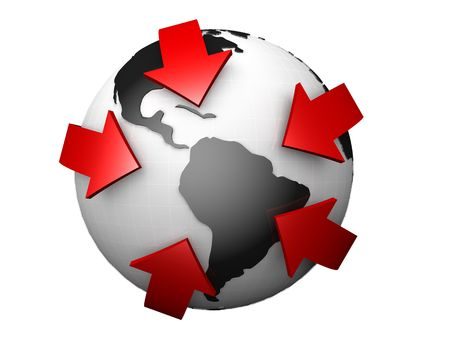 businessteam: Globe surrounded by red arrows 3d illustration