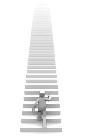 man stepping on long stairway to his destination 3d illustration