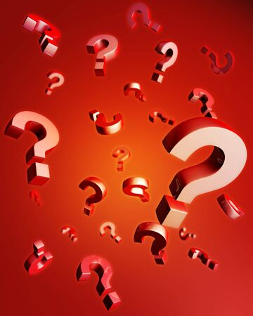 Question mark falling with reflection 3d illustration Stock Illustration - 5197883