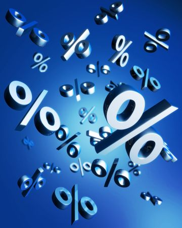 installment: Percentage symbol falling with reflection 3d illustration Stock Photo