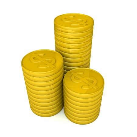 Pile of golden coins money with isolated background 3d illustration illustration