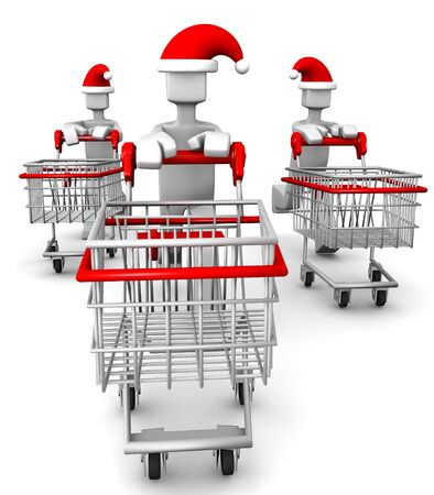 santa clause hat: Consumer wearing santa clause hat with trolley run for seasonal sale shopping 3d illustration