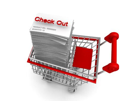 out of order: Ecommerces concept a shopping trolley with list of electronic order product ready for check out 3d illustration