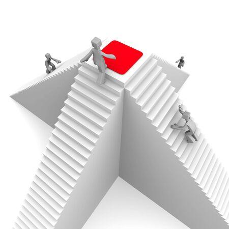 levels: Concurrentie concept een winnaar het bereiken van de piek en intensivering op rode loper 3d illustration Stockfoto