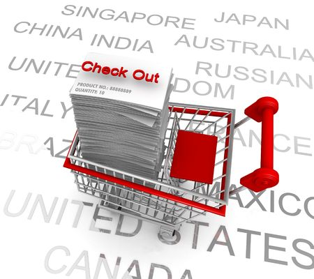 out of order: Ecommerce concept a trolley with list of electronic shopping order ready for check out with country name as background Stock Photo