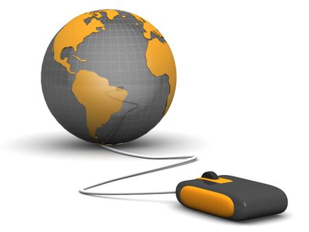 wire globe: E-commerces concept a computer mouse navigate with a globe 3d illustration Stock Photo