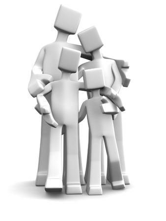joyfulness: 3d character family with parent and child 3d illustration Stock Photo