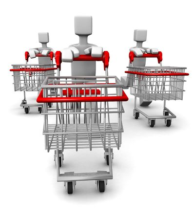 Consumer with trolley run for seasonal sale shopping 3d illustration
