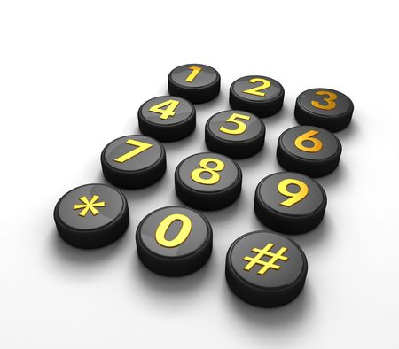 Telephone contact number button in white background 3d illustration Stock Photo