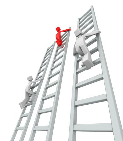 contestant: Contestants challenge and climbing ladder to reach the top 3d illustration