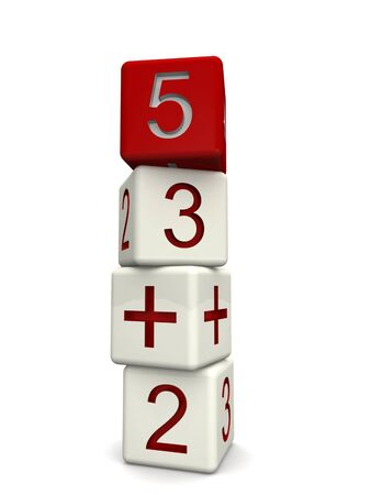 juniors: Children mathematics class concept 3d numbers dice in a row isolated