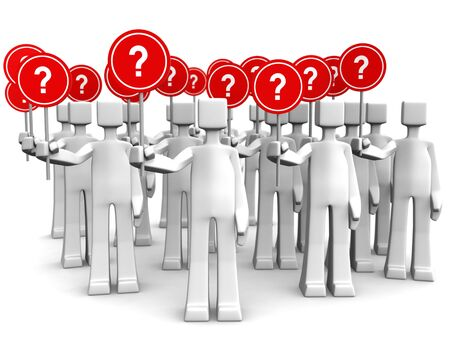 questions answers: Group of people holding sign with question mark 3d illustration Stock Photo