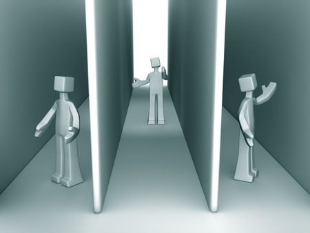 Lost and confuse three man separated in three corridor 3d illustration illustration