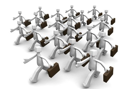 follow the leader: Leader leading group of business salesman 3d illustration