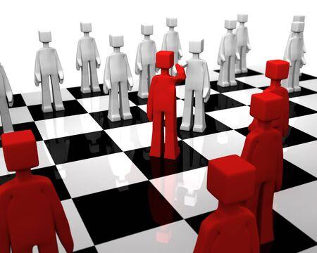 checker board: Comprobador de juego apret�n de manos a bordo del jugador para la paz 3d illustration
