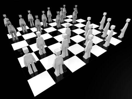 checker board: Juego Checker Board jugador listo para la batalla 3d illustration