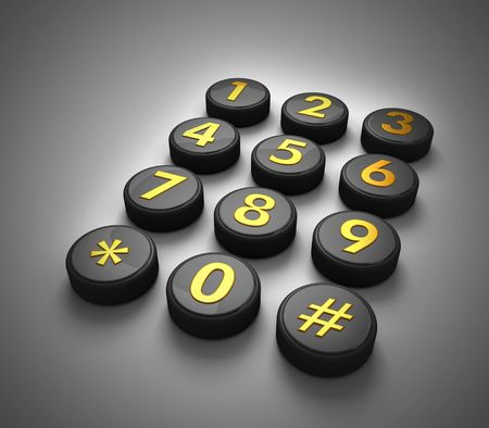 dialplate: Telephone contact number button in dark gradient background 3d illustration Stock Photo