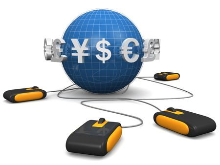 Mouse with international currency symbol surrounded a globe E-commerces concept 3d illustration illustration