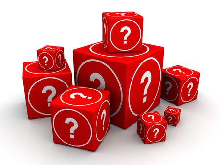 questionably: Group of big and small cube box with question mark 3d illustration