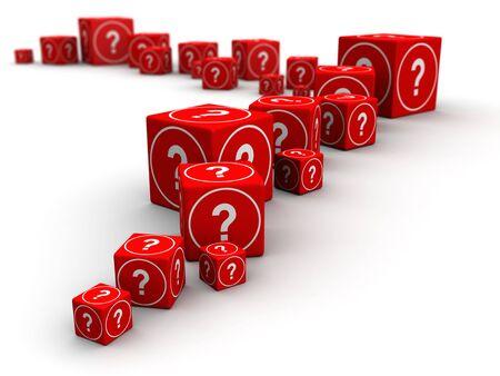 whose: Larga cola de la ilustraci�n grandes y peque�os, marque el cuadro de la pregunta del cubo 3D Foto de archivo
