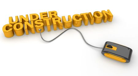 Mouse connected to under construction word 3d illustration illustration