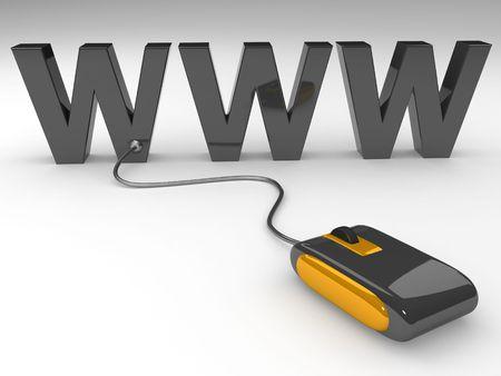 worldwide web: Rat�n conectado a la web amplia internet www mundo, ilustraci�n 3d Foto de archivo