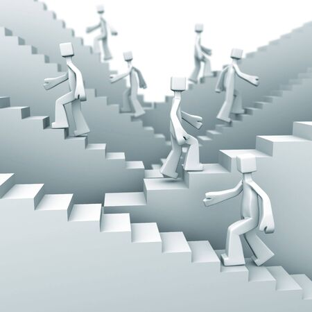 people moving up on staircase 3d illustration Stock Illustration - 5470736