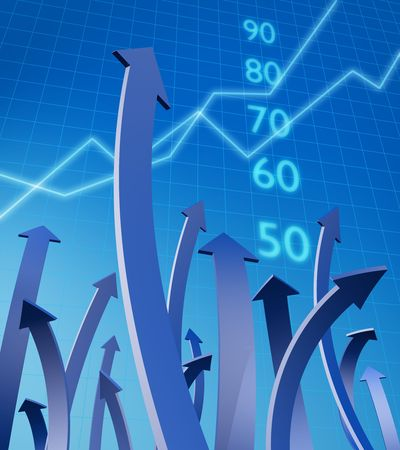 financial reports: Arrows pointing up with graph and number at background 3d illustration