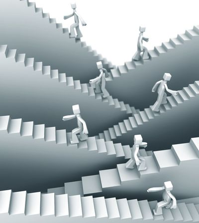 People stepping on staircase moving up direction 3d illustration Stock Photo