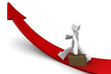 flecha direccion: Empresario hacia hacia arriba la ilustraci�n 3d de la direcci�n de flecha Foto de archivo