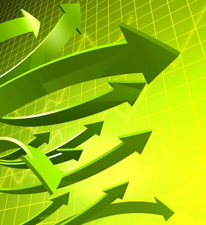 Arrows pointing up with graph and background 3d illustration