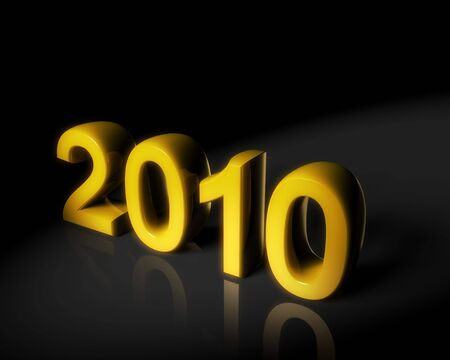 thousand: Year 2010 two thousand ten gold color with dark background 3d illustration