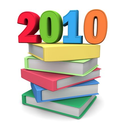 two thousand: Year 2010 on top of colorful books 3d illustration Stock Photo