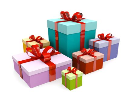 colorful present gift box isolated 3d illustration