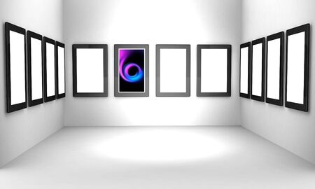 showreel: Artwork display on the wall select white space alpha to add your photo Stock Photo