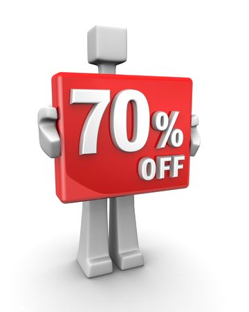 Sales concept a man showing 70 percent off signboard 3d illustration illustration