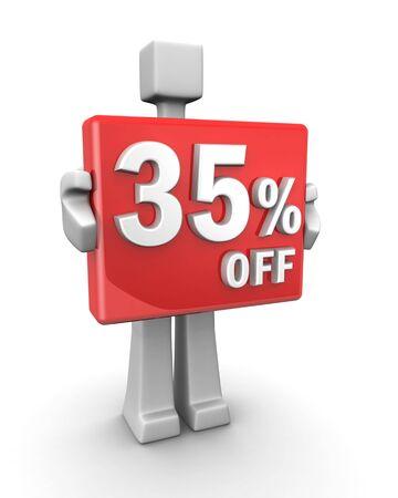 Sales concept a man showing 35 percent off signboard 3d illustration illustration