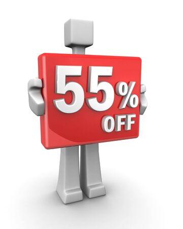 Sales concept a man showing 55 percent off signboard 3d illustration illustration