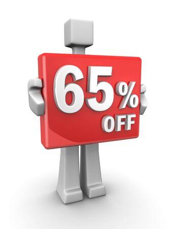 Sales concept a man showing 65 percent off signboard 3d illustration illustration