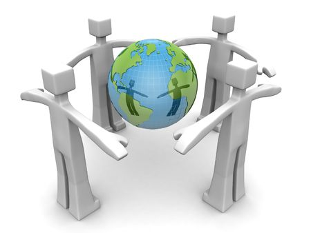 Four man surrounded a globe to protect environmental concept 3d illustration