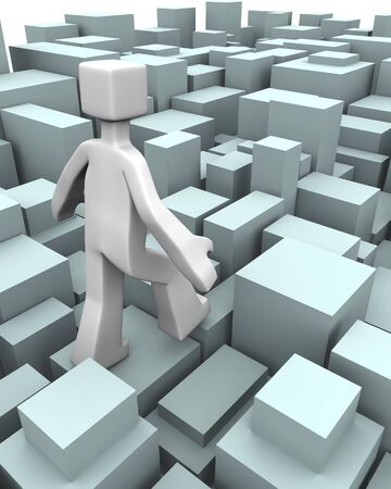 difficult lives: Man walking through uneven blocks overcome of difficulty concept 3d illustration Stock Photo