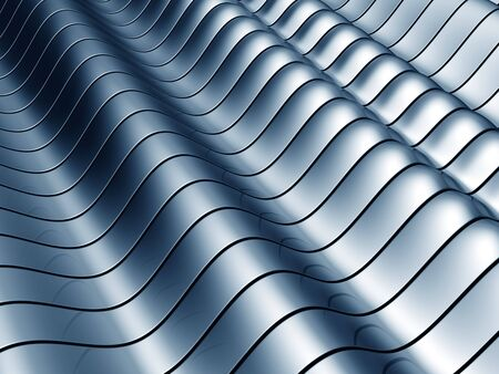 reiteration: Abstract blue wave steel background 3d illustration
