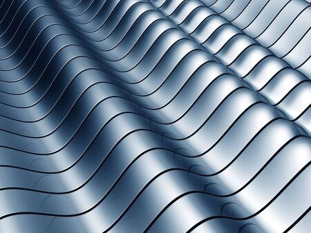 Abstract blue wave steel background 3d illustration Stock Illustration - 5543665