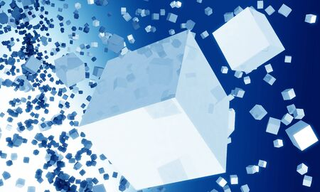 falling cubes: Group of cubes falling effect background 3d illustration