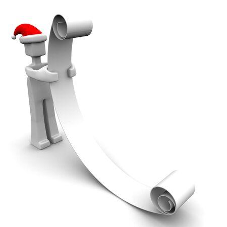Santa reading a long wish list christmas concept 3d illustration Stock Illustration - 5566198
