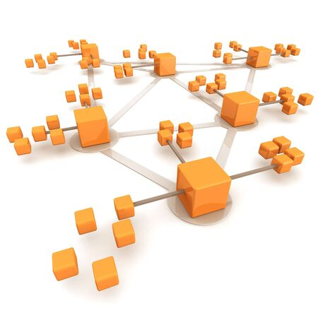hierarchy: Business network or connection concept white background 3d illustration Stock Photo