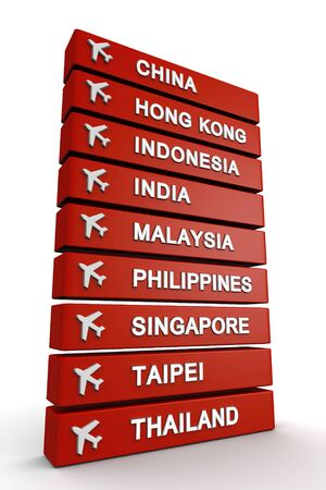 airlines: Signboard with asia country and a airplane on top 3d illustration Stock Photo