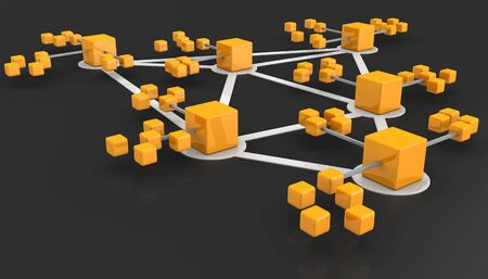 network topology: Business network or connection concept dark background 3d illustration